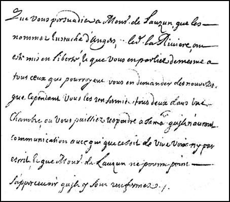 Extrait de la lettre de Louvois à Saint-Mars du 8 avril 1680
