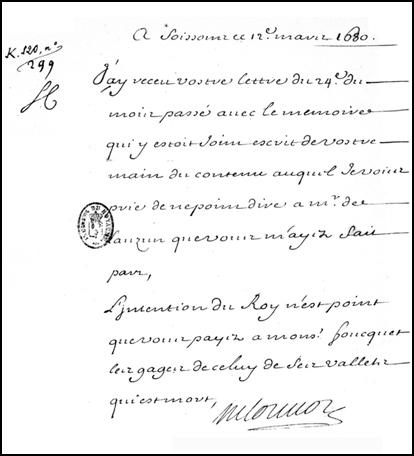 Lettre de Louvois à Saint-Mars du 12 mars 1680