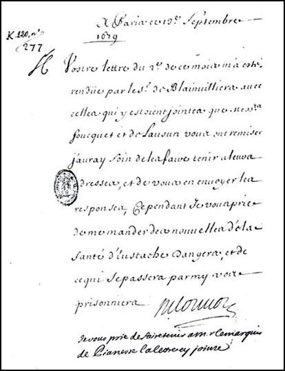 Lettre de Louvois à Saint-Mars du 19 septembre 1679